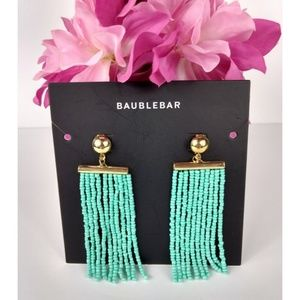 New Baublebar Gold Tone Green Swing Bead Earrings